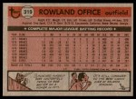 1981 Topps #319  Rowland Office  Back Thumbnail