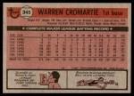 1981 Topps #345  Warren Cromartie  Back Thumbnail