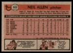 1981 Topps #322  Neil Allen  Back Thumbnail