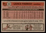 1981 Topps #392  Lance Parrish  Back Thumbnail