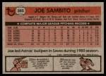 1981 Topps #385  Joe Sambito  Back Thumbnail