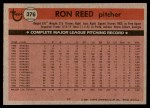 1981 Topps #376  Ron Reed  Back Thumbnail