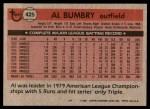 1981 Topps #425  Al Bumbry  Back Thumbnail