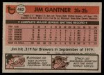 1981 Topps #482  Jim Gantner  Back Thumbnail