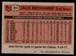 1981 Topps #462  Jack Brohamer  Back Thumbnail