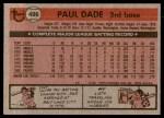 1981 Topps #496  Paul Dade  Back Thumbnail