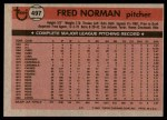 1981 Topps #497  Fred Norman  Back Thumbnail