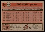 1981 Topps #494  Bob Walk  Back Thumbnail