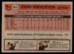 1981 Topps #603  John Verhoeven  Back Thumbnail