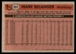 1981 Topps #641  Mark Belanger  Back Thumbnail