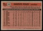 1981 Topps #646  Marvis Foley  Back Thumbnail