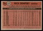 1981 Topps #615  Rick Dempsey  Back Thumbnail