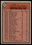 1981 Topps #662   Red Sox Team Checklist Back Thumbnail
