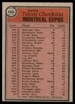 1981 Topps #680   Expos Team Checklist Back Thumbnail