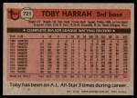 1981 Topps #721  Toby Harrah  Back Thumbnail