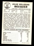 1960 Leaf #43  Julio Becquer  Back Thumbnail
