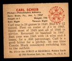1950 Bowman #213 CPR Carl Scheib  Back Thumbnail