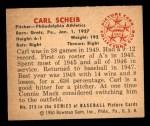 1950 Bowman #213 ^CR^ Carl Scheib  Back Thumbnail