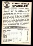 1960 Leaf #38  Al Spangler  Back Thumbnail