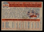 1957 Topps #194  Hal Brown  Back Thumbnail