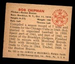 1950 Bowman #192 CPR Bob Chipman  Back Thumbnail
