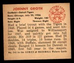 1950 Bowman #243 xCPR Johnny Groth  Back Thumbnail