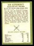 1963 Fleer #37  Bob Aspromonte  Back Thumbnail