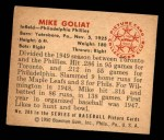 1950 Bowman #205 CPR Mike Goliat  Back Thumbnail