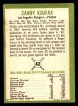 1963 Fleer #42  Sandy Koufax  Back Thumbnail