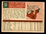 1959 Topps #53  Stan Williams  Back Thumbnail