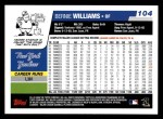 2006 Topps #104  Bernie Williams  Back Thumbnail