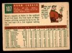 1959 Topps #107  Norm Larker  Back Thumbnail