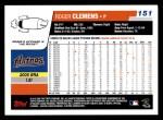 2006 Topps #151  Roger Clemens  Back Thumbnail