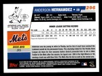 2006 Topps #296   -  Anderson Hernandez Rookie Card Back Thumbnail