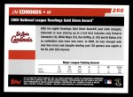 2006 Topps #258   -  Jim Edmonds Golden Glove Award Back Thumbnail