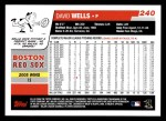 2006 Topps #240  David Wells  Back Thumbnail