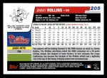 2006 Topps #205  Jimmy Rollins  Back Thumbnail