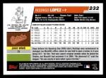 2006 Topps #232  Rodrigo Lopez  Back Thumbnail