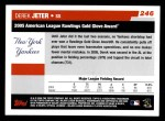 2006 Topps #246   -  Derek Jeter Golden Glove Award Back Thumbnail