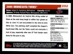2006 Topps #282   Minnesota Twins Team Back Thumbnail