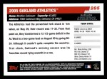 2006 Topps #285   Oakland Athletics Team Back Thumbnail