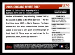 2006 Topps #270   Chicago White Sox Team Back Thumbnail