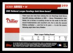 2006 Topps #259   -  Bobby Abreu Golden Glove Award Back Thumbnail