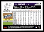 2006 Topps #376  Luis Gonzalez  Back Thumbnail