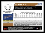 2006 Topps #385  Bill Hall  Back Thumbnail