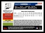 2006 Topps #308   -  Fausto Carmona Rookie Card Back Thumbnail
