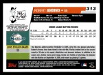2006 Topps #313   -  Robert Andino Rookie Card Back Thumbnail