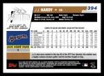 2006 Topps #394  J.J. Hardy  Back Thumbnail