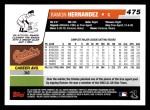 2006 Topps #475  Ramon Hernandez  Back Thumbnail