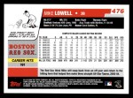 2006 Topps #476  Mike Lowell  Back Thumbnail